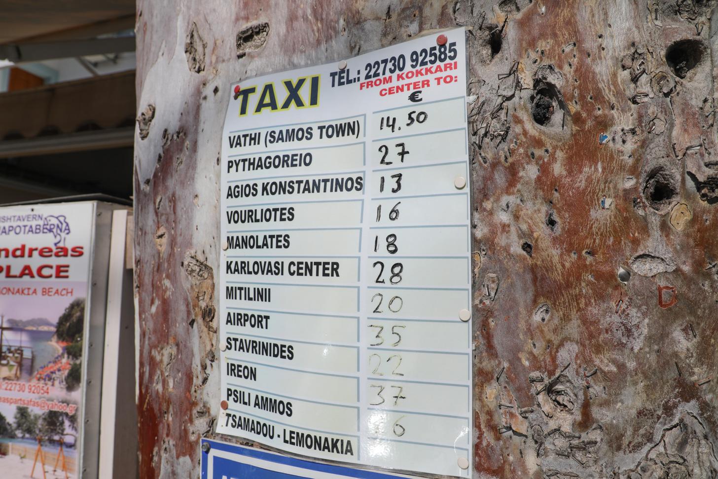 Taxiprijzen op samos